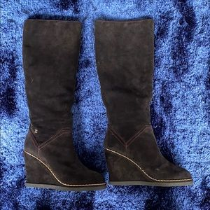 CHANEL Black Suede Knee High Tall Wedge Heel Boots